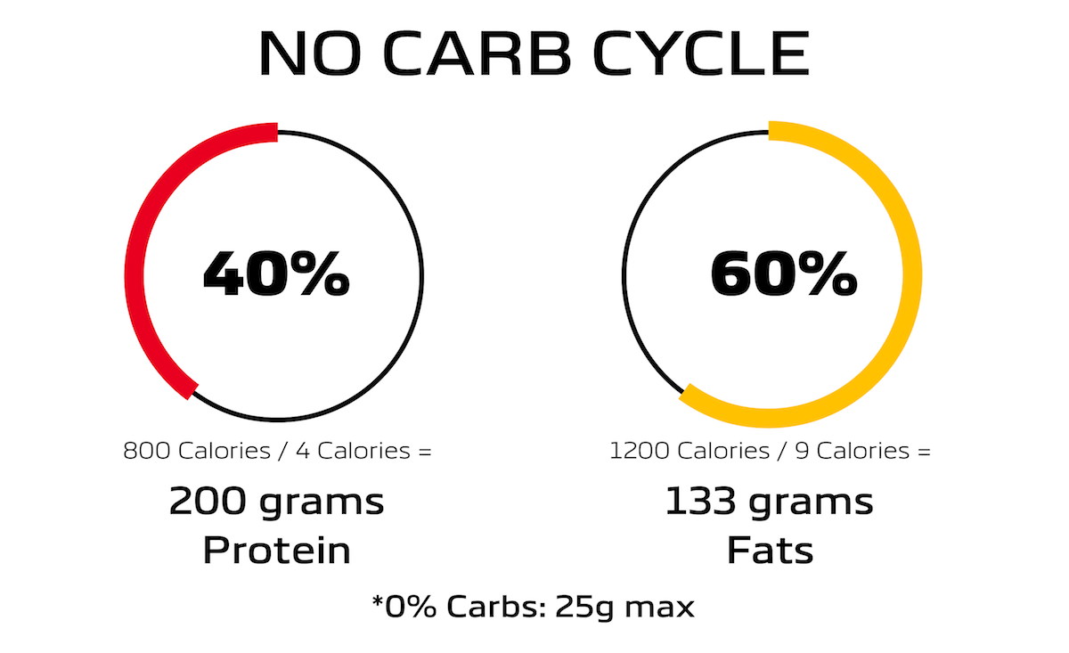 Graphic showing calorie breakdown for a no carb day cycle