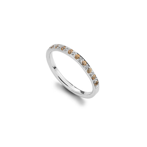Spessartine & White Gold Half Eternity Ring
