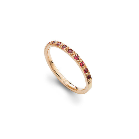 Spinel & Rose Gold Half Eternity Ring