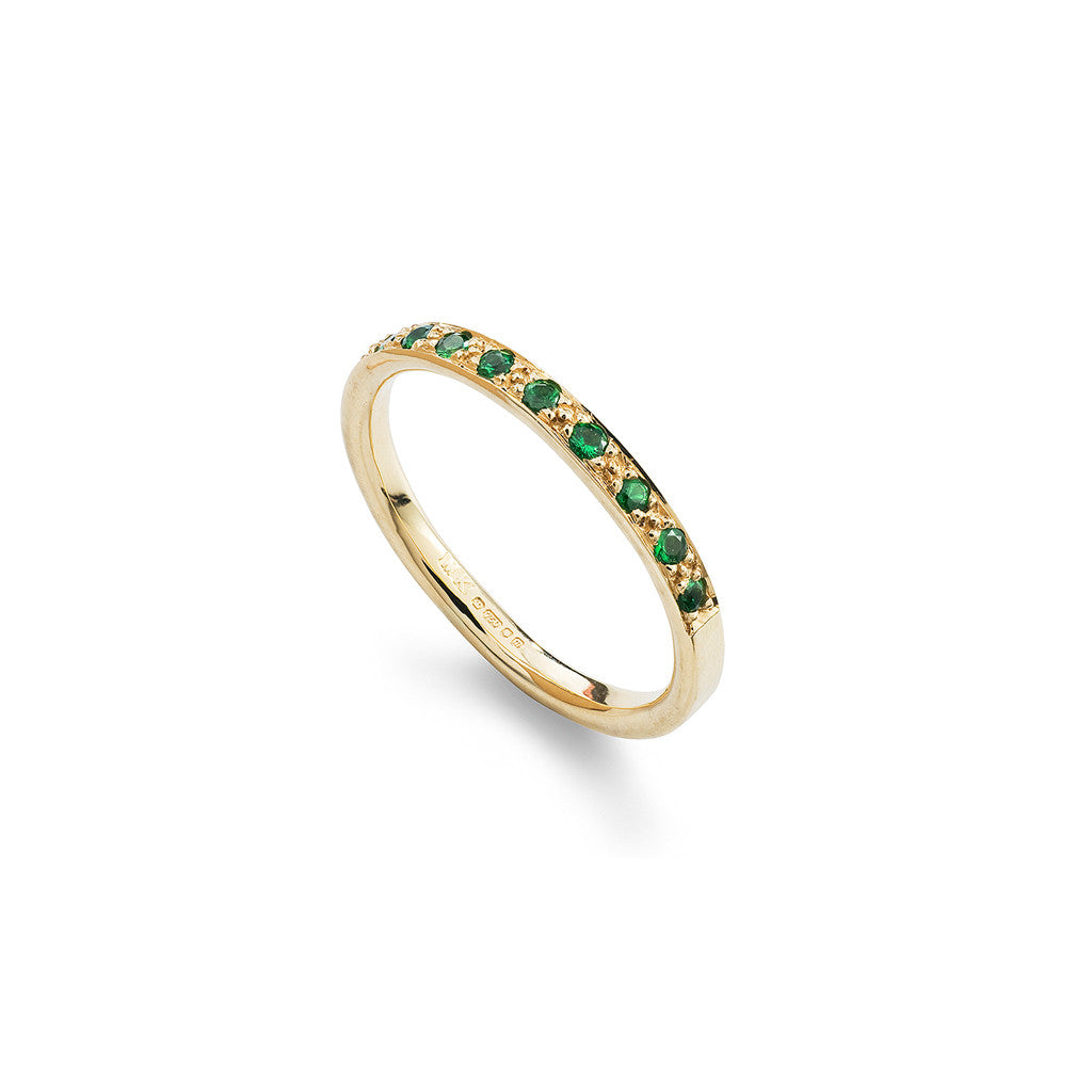 Tsavorite & Yellow Gold Half Eternity Ring