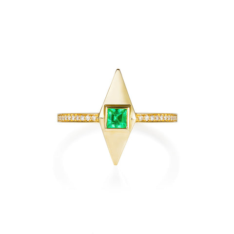 Emerald & Diamond Gold Pyramid Ring