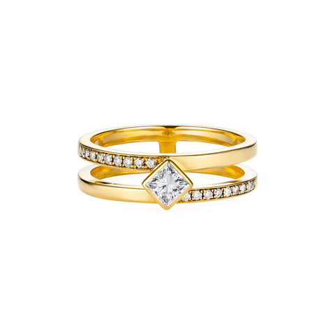 Diamond Double Band Gold Ring