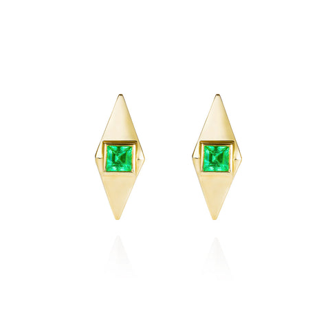 Emerald & Gold Pyramid Stud Earrings