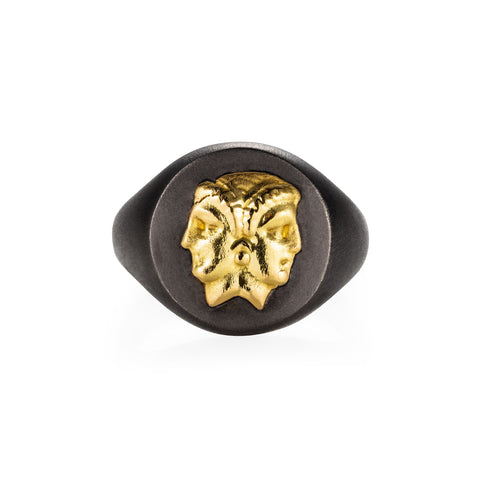 Gemini Black Gold Signet Ring