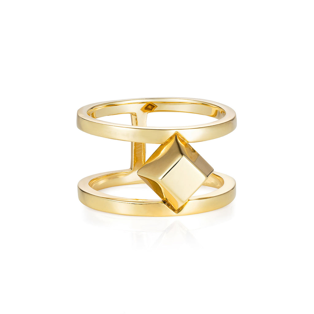 Large Gold Pyramid Ring