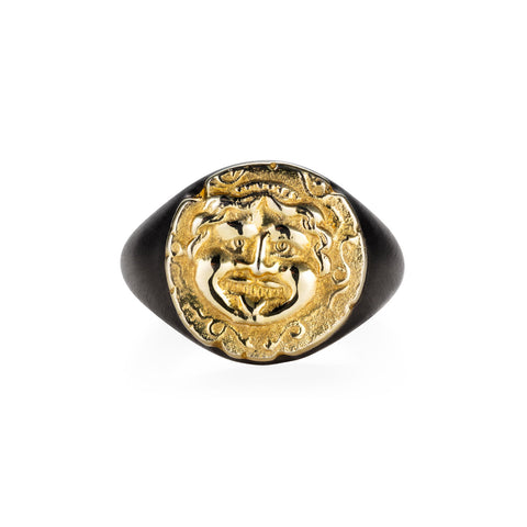 Medusa Black Gold Signet Ring