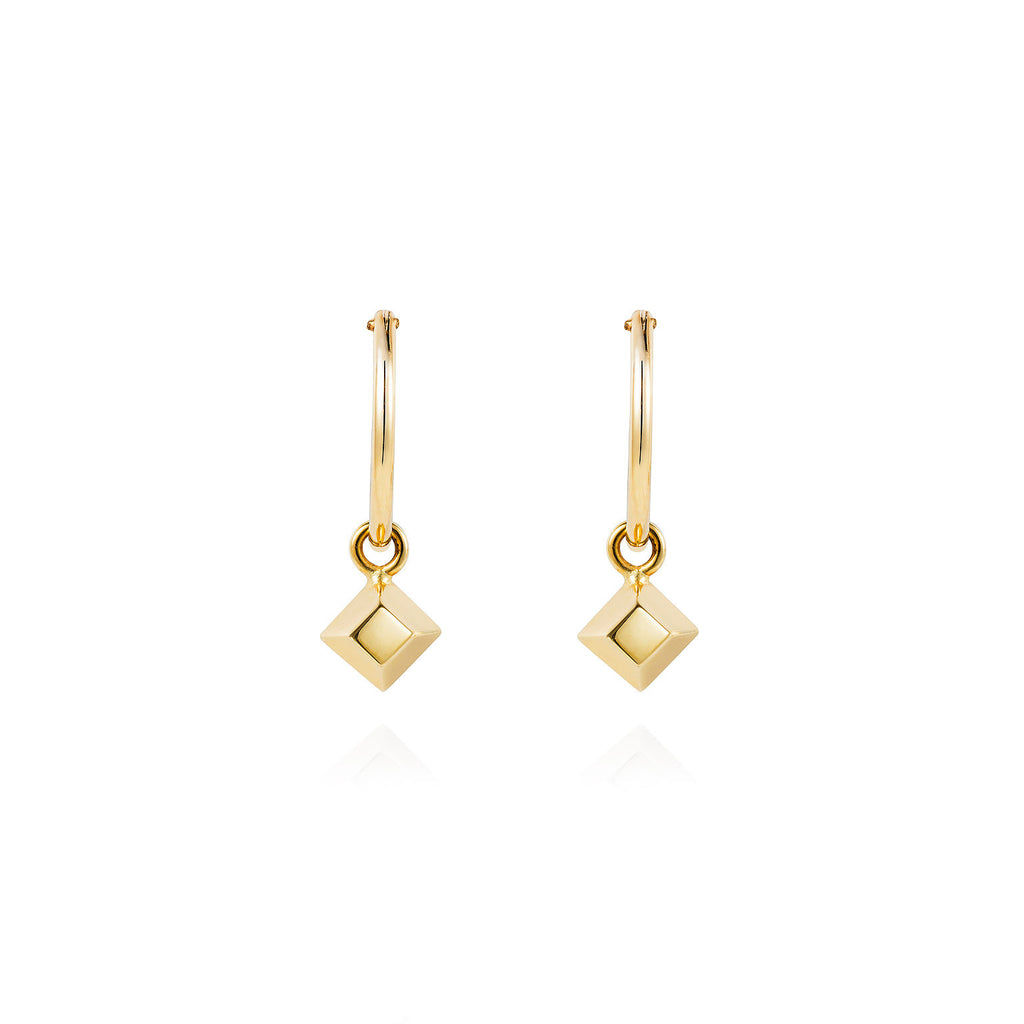 Mini Pyramid Gold Hoop Earrings