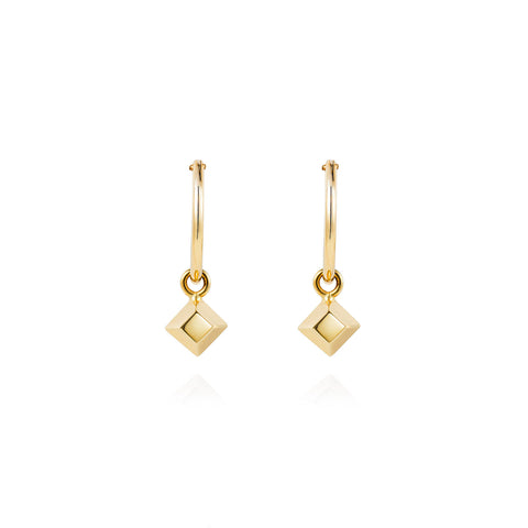 Mini Pyramid Gold Hoops