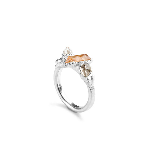 Topaz & Herkimer Crystal Ring