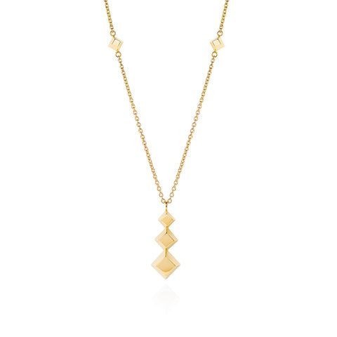 Triple Pyramid Gold Necklace