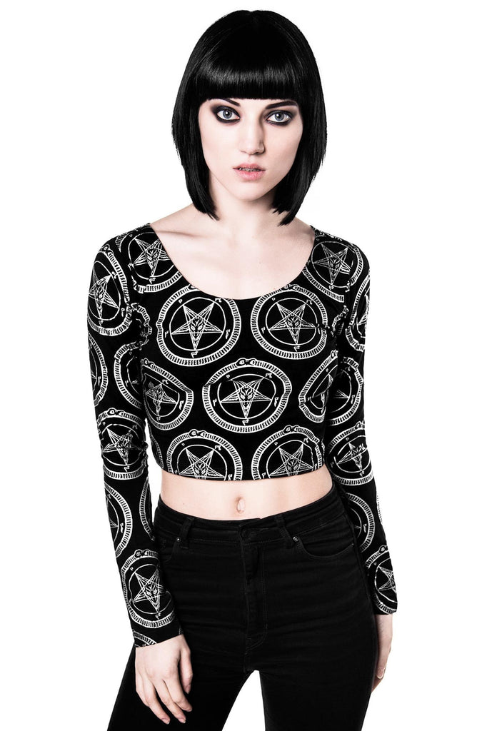 Baphomet L/S Crop Top [B]