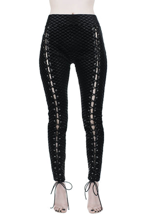 Black Sea Lace-Up Leggings [B]