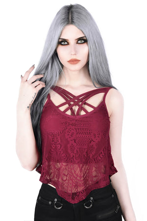 Deadly Beloved Lace Vest [WINE]