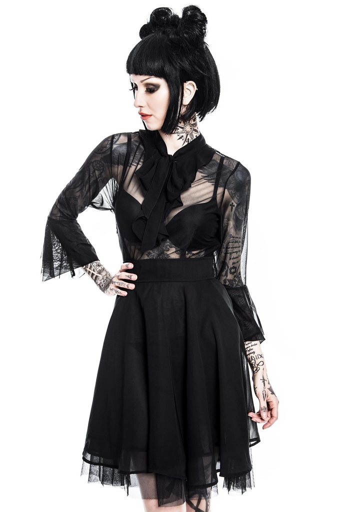 model wears black mesh goth dress Decay Nu-Mourning from KILLSTAR