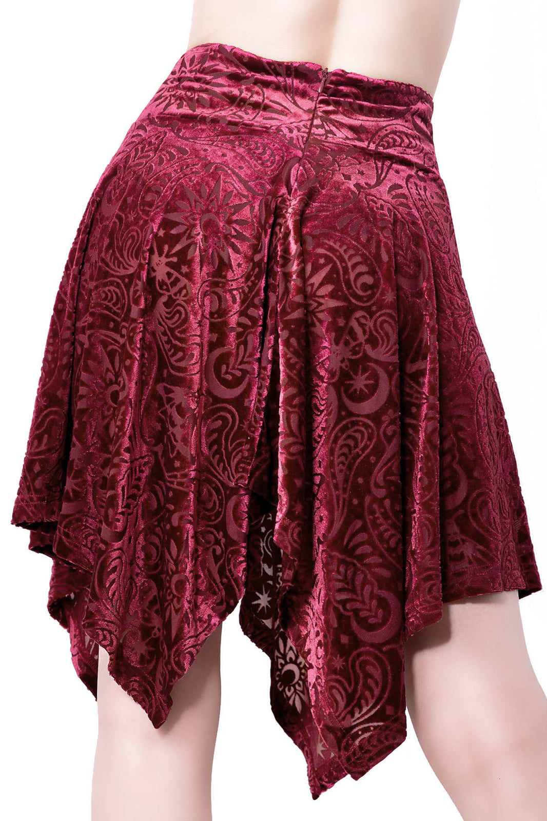 Etta Burnout Velvet Skirt [WINE]