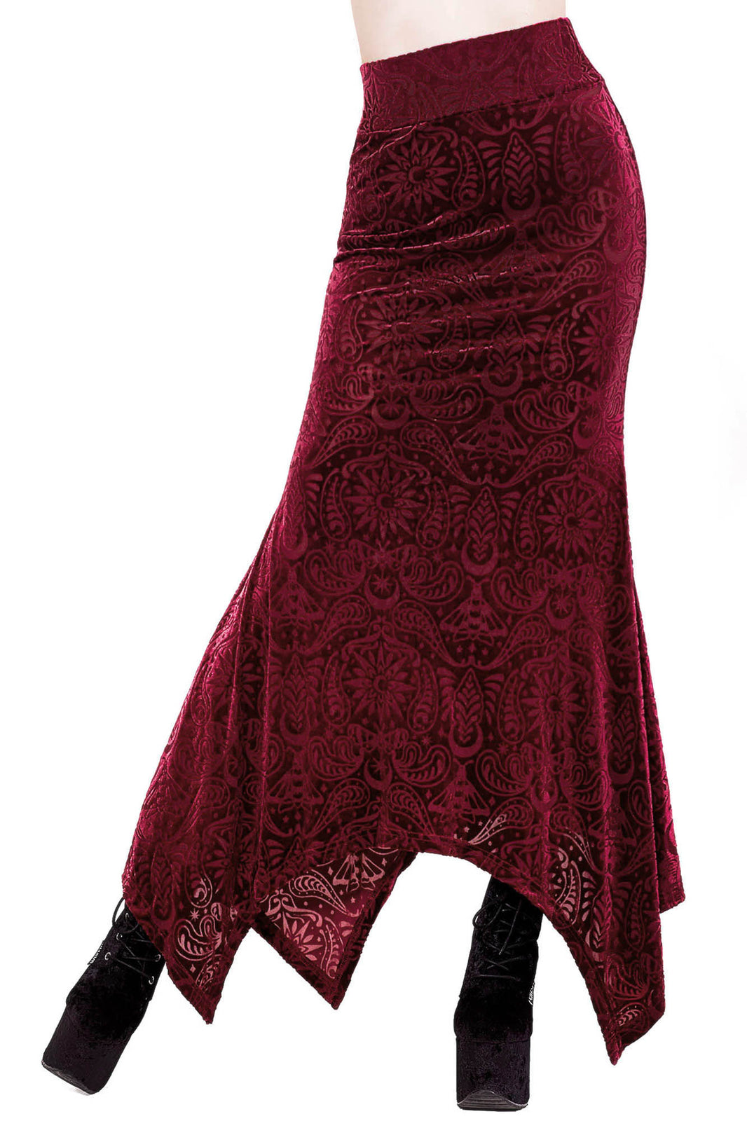 Genesis Burnout Velvet Maxi Skirt [WINE]