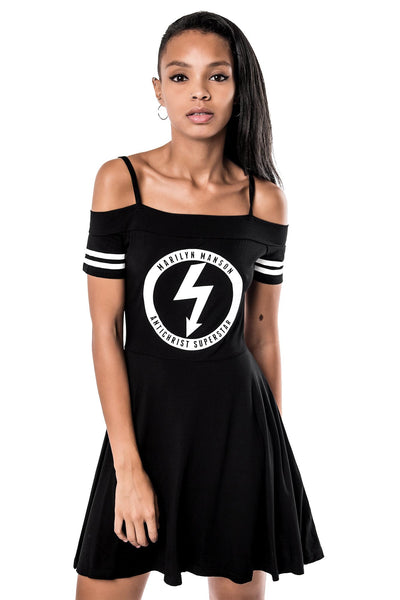 Model in Gloom Bardot Marilyn Manson Cheerleader Dress from KILLSTAR