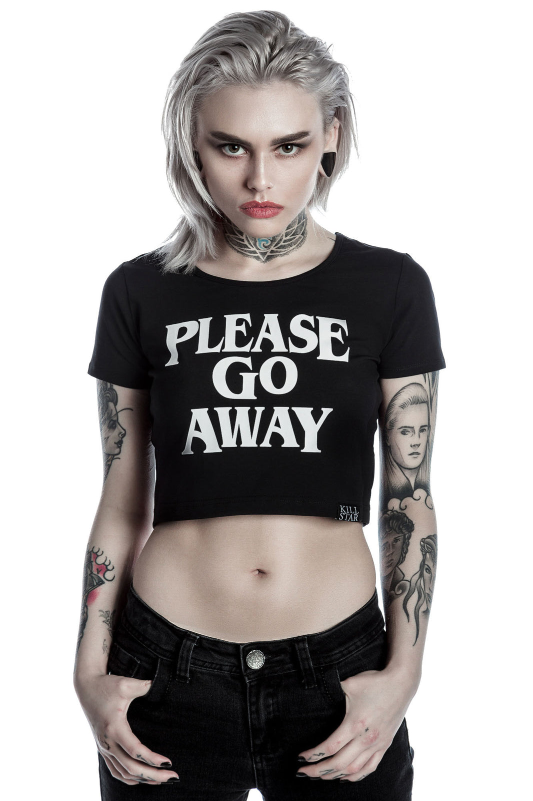 Go Away Scoop Neck Crop Top [B]