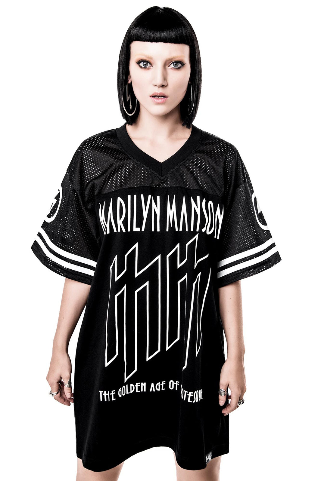 Woman in Ka-Boom Ka-Boom Hockey Jersey from Killstar x Marilyn Manson Clothing Line