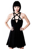 Model wears black goth skater dress with pentagram detail from KILLSTAR