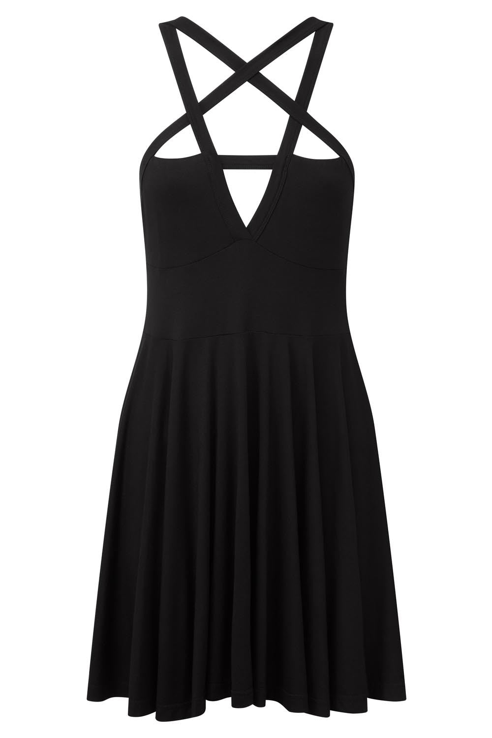 black goth skater dress with pentagram detail from KILLSTAR