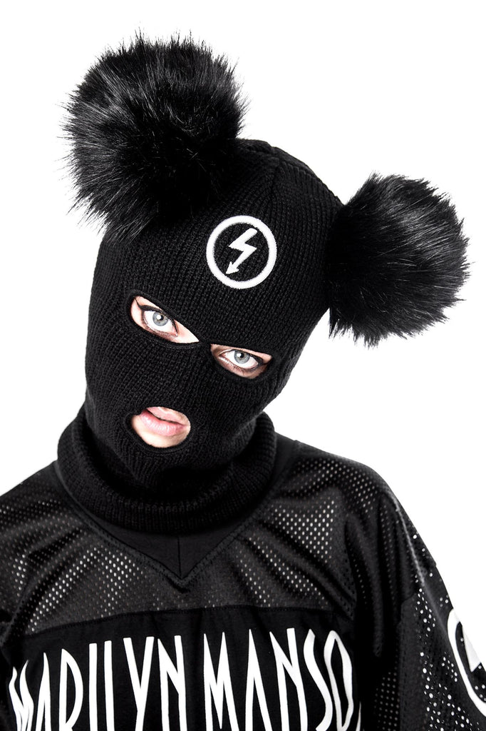 Model in Black Knit Mousetrap Balaclava from KILLSTAR x Marilyn Manson