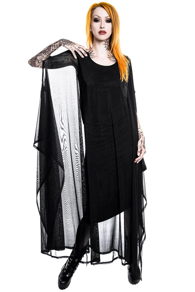 Girl in KILLSTAR Goth Mystic Hanna Hell Mesh Maxi Dress