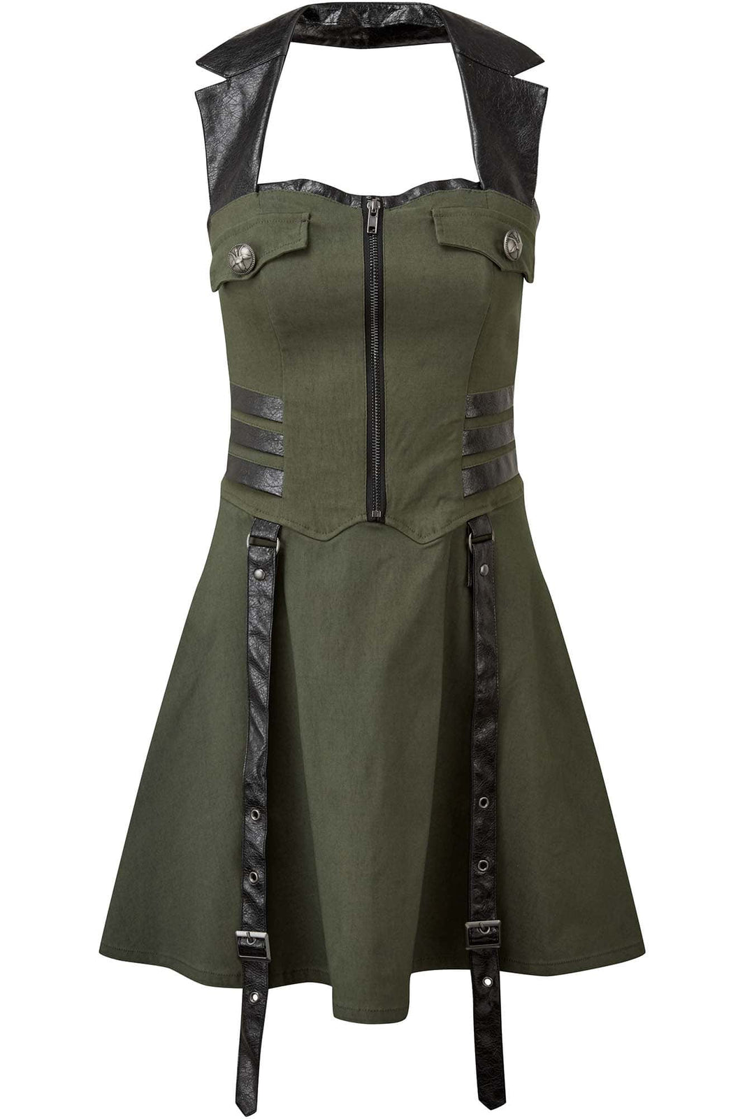 Psy-Ops Halter Dress [KHAKI]