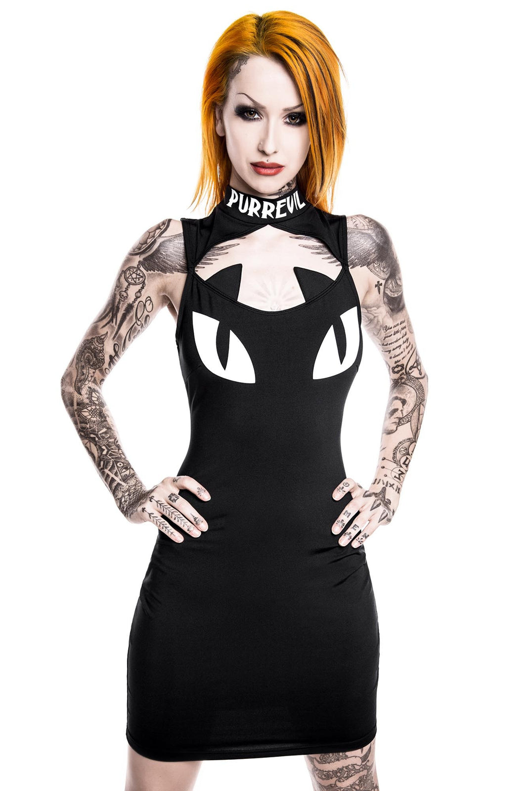 Model in KILLSTAR Purr Evil Black Bodycon Goth Dress