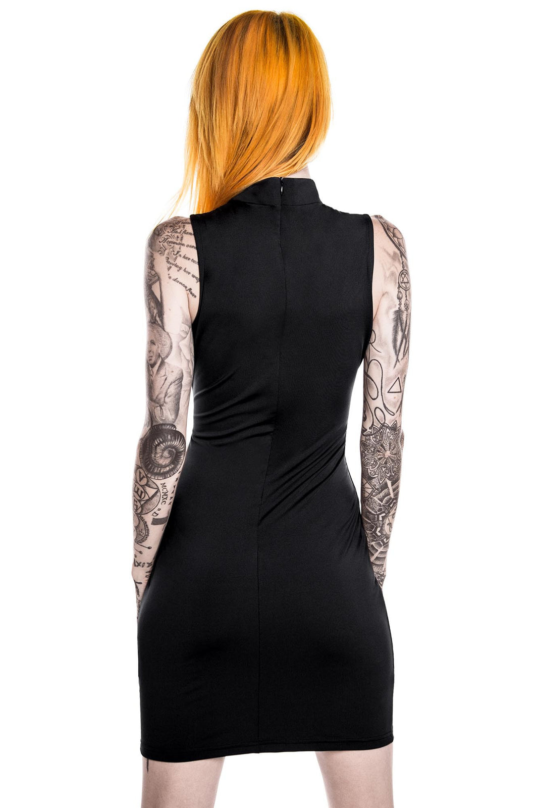 back of model in KILLSTAR Purr Evil Bodycon Black Goth Dress
