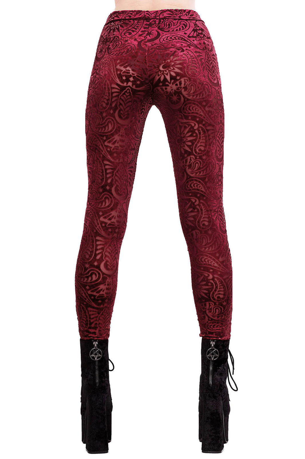 Saiph Burnout Velvet Leggings [WINE]