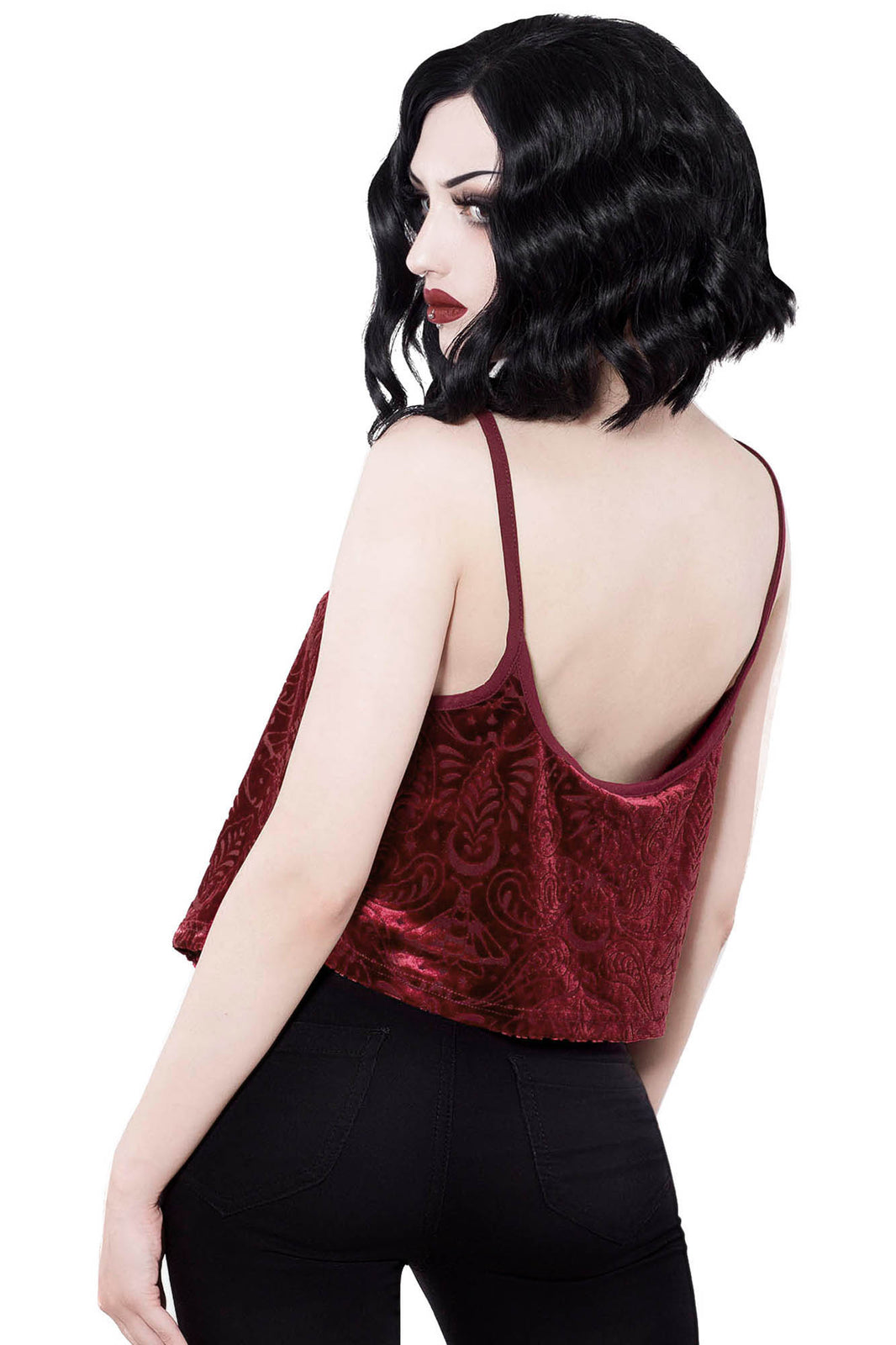 Thea Burnout Velvet Vest [WINE]