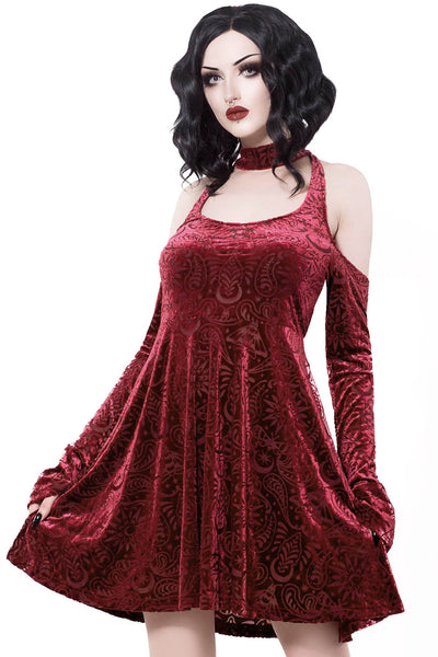 Vela Burnout Velvet Dress [WINE]