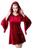 Velvet Witch Hood Dress [CRIMSON]