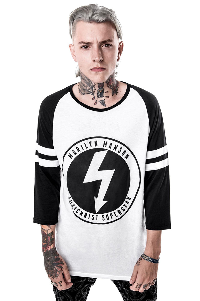Man in Wormboy Raglan Top. KILLSTAR x MARILYN MANSON Clothing