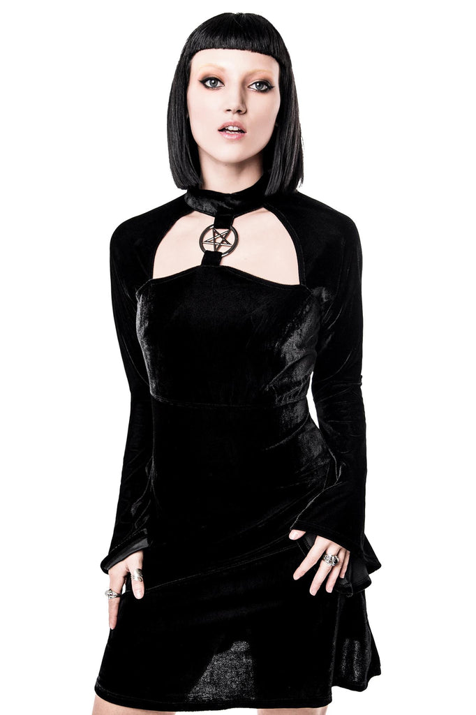 Model in Ziva She's Evil Black Velvet Dress | Goth Dress