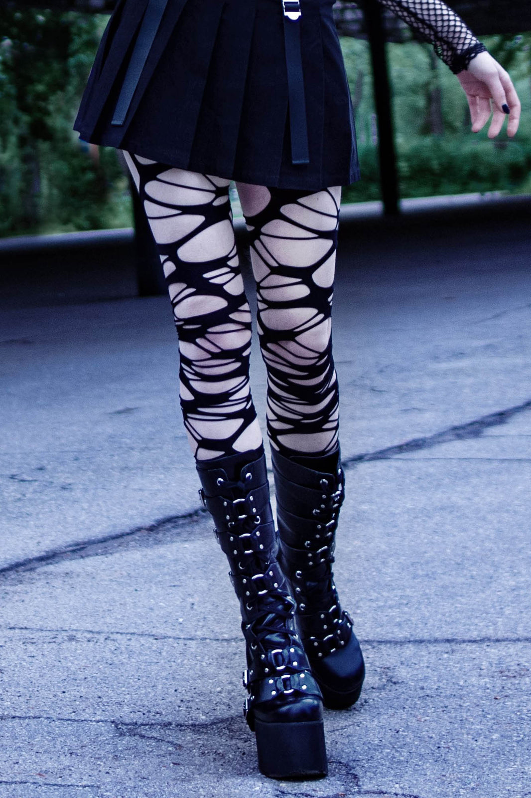 Carved Up Slashed Tights