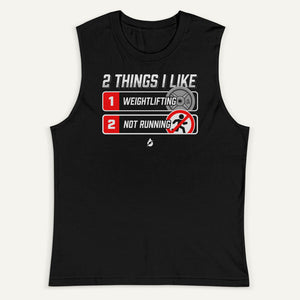 2 Things I Like Weightlifting And Not Running Men's Muscle Tank