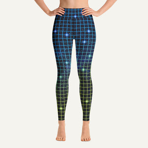 80s Neon Grid High-Waisted Leggings — Blue/Green