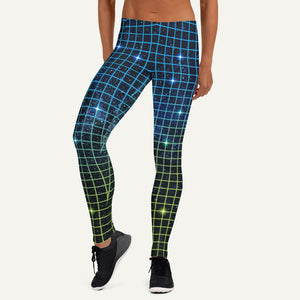 80s Neon Grid Leggings — Blue/Green