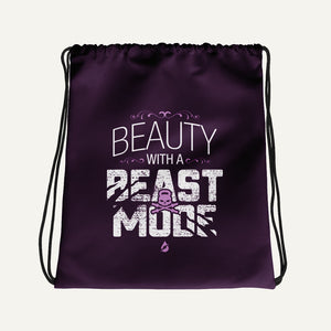 Beauty With A Beast Mode Drawstring Bag