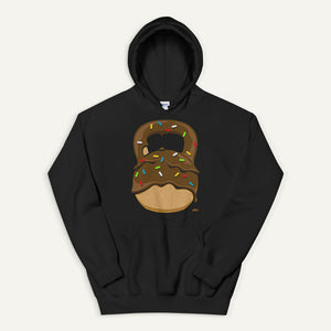 Chocolate-Glazed Donut With Sprinkles Kettlebell Design Pullover Hoodie