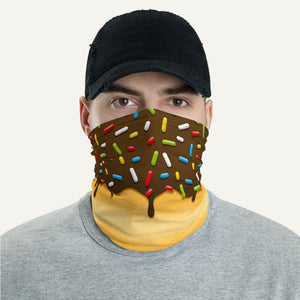 Chocolate Glazed Donut With Sprinkles Neck Gaiter