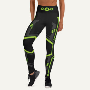 Futuristic Sci-Fi High-Waisted Leggings — Green