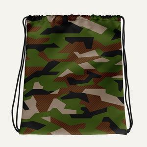 Geometric Camouflage Drawstring Bag — Woodland