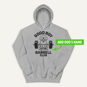 Good Boy Barbell Club Personalized Pullover Hoodie — Labrador Retriever