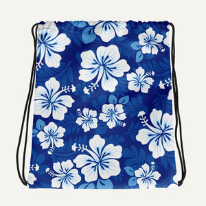 Hawaiian Aloha Drawstring Bag — Blue