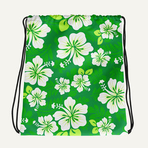 Hawaiian Aloha Drawstring Bag — Green