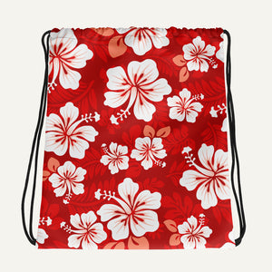 Hawaiian Aloha Drawstring Bag — Red