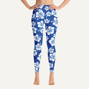 Hawaiian Aloha Pattern Women's High-Waisted Leggings — Blue
